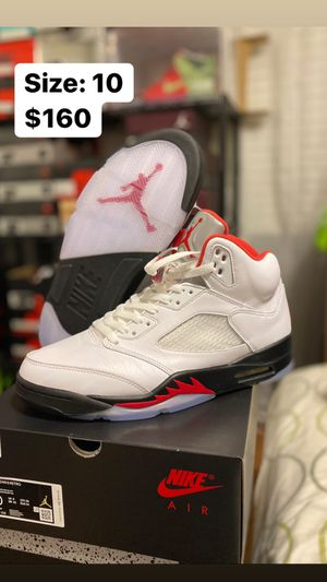 Jordan 5 Retro Fire Red Silver Tounge Size 10 for Sale in Temecula, CA
