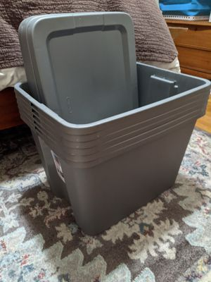 5 tubs with lids - 18 gallon size. Like new! for Sale in San Francisco, CA