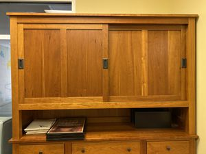 Office / Home office cabinet/ storage unit - top hutch part detached. HAND MADE AMISH MAKE for Sale in Tucker, GA