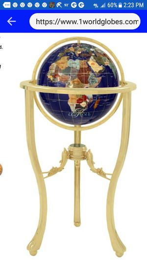 Floor Globe, coated Brass, GEMSTONES COUNTRIES, glass compass for Sale in Bowling Green, MO