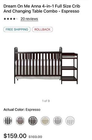 Dream on me Anna 4in- 1full size crib and changing table combo for Sale in Irving, TX