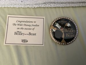 """NEW Rare & Collectible, Disney's Beauty & the Beast """"And the Winner is..."""" button pin with the original Congratulation Card given exclusively to Walt for Sale in Henderson, NV"""