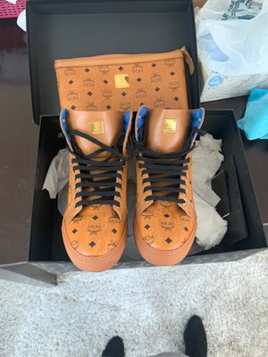 Authentic MCM men cognac carryover high top sneakers size 38 for Sale in Bloomington, IL