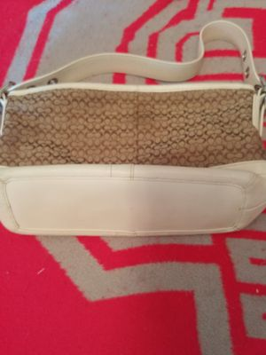 Coach Signature Duffel Purse Khaki & White Leather Accent F… for Sale in Chandler, AZ