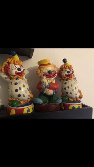 Set of 3 vintage plastic clown piggy banks for Sale in Saint James, MO