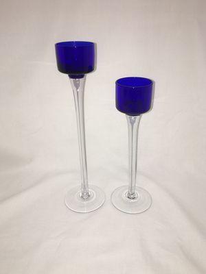 Pair of Cobalt Blue & Clear Glass Stemmed Tealight Votive Candle Holders for Sale in El Mirage, AZ
