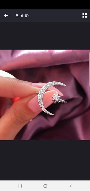 NEW Crescent Moon Star Diamond 18K Gold, Sterling Silver Ring, Engagement, Wedding, Cocktail Party, Bridal, Gift for Sale in Sarasota, FL