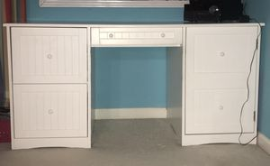 Large white computer desk, headboard, and night stand for Sale in Indian Trail, NC