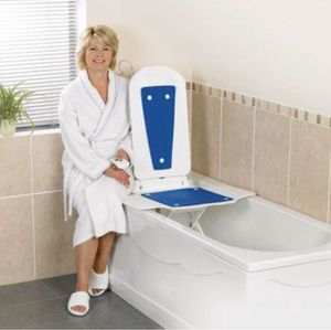 Bathmaster Deltis Bath Lift, Motorized Bath and Shower Seat with Comfortable Blue Cover, Backrest, Transfer Flaps, Waterproof Hand Controller for Sale in Las Vegas, NV