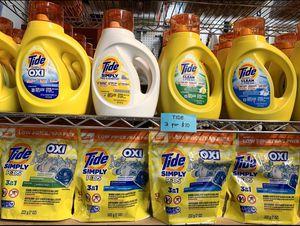 3 for $10 tide detergent liquid/pods for Sale in Las Vegas, NV