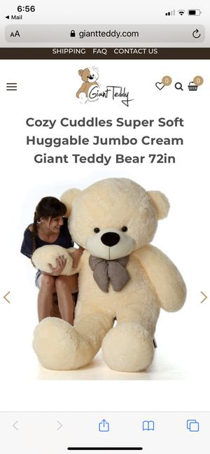 Cozy Cuddles Super Soft Huggable Jumbo Cream Giant Teddy Bear 72in for Sale in Herndon, VA