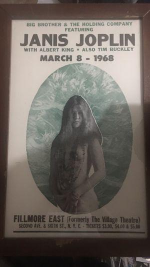 Janis Joplin 1968 Original Concert Event Poster for Sale in Rockville, MD