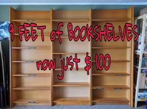 9 feet of solid wood bookshelves! for Sale in Park Forest, IL