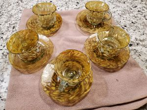 Amber Tea cups all handblown for Sale in Livingston, CA