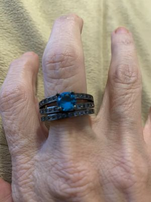 New 2 piece CZ blue sapphire wedding ring size 9 for Sale in Hoffman Estates, IL