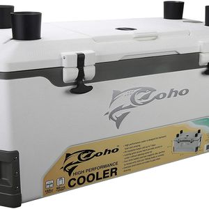 COHO 165 QT Ice Chest, Heavy Duty, High Performance Insulated Cooler with Fish Ruler, Removable Threaded Cup Holders, Magnetic Disc, Tie Down Loop, Ea for Sale in Irvine, CA