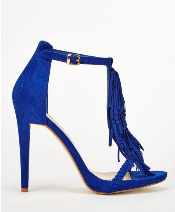 JustFab Loralei Royal Blue Fringe Size 6