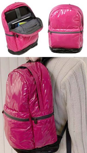 New in box pink girl glossy finished book case backpack with zipper front side pocket for Sale in South El Monte, CA