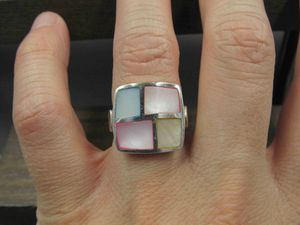 Size 7 Sterling Silver Colorful Shell Inlay Band Ring Vintage Statement Engagement Wedding Promise Anniversary Bridal Cocktail for Sale in Everett, WA