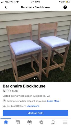 Two Blockhouse furniture bar chairs org. $658 for Sale in Alexandria, VA