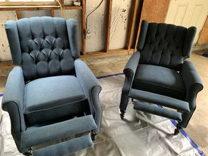 Two blue DISINFECTED reclining chairs! DELIVERY AVAILABLE for Sale in Saint Charles, MD