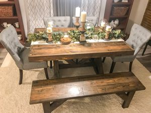 Custom Built Farmhouse Dining / Breakfast Table & Bench Solid Wood Modern Farm House Handcrafted Rustic for Sale in Austin, TX