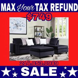 Black Velvet Sectional !! Delivery !!50 Down!! for Sale in Dallas,  TX