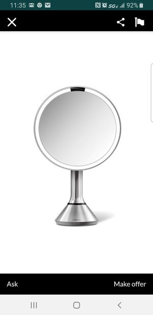 "Simple Human Sensor Lighted Makeup Vanity Mirror, 8"" Round with Touch-Control Brightness, 5X Magnification, Stainless Steel, Rechargeable and Cordless for Sale in Tacoma, WA"