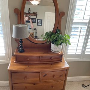 Stanley Pine Bedroom Set: Chest With Mirror, Sleigh Bed - Twin With Never Used Pillow Top Mattress And Cover, Night Stand for Sale in Vista, CA