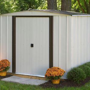 Arrow Newport 8 ft. W x 6 ft. D 2-Tone Eggshell and Coffee Galvanized Metal Shed with Sliding Lockable Doors for Sale in West Covina, CA