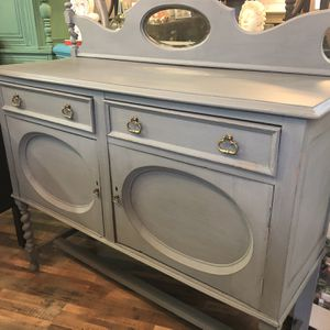 Antique Gray Buffet With Mirror for Sale in University Place, WA
