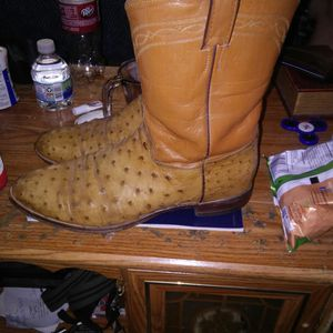 Justin ostrich skin full quill cowboy boots for Sale in San Angelo, TX