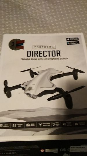 Protocol Director Foldable drone with live streaming camera new but has little crack on corner for Sale in Houston, TX