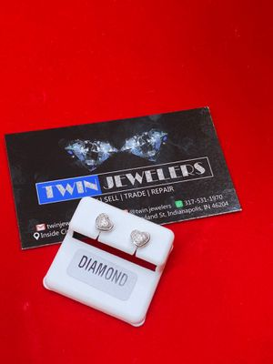 925 Silver ear studs studded with diamonds of 0.07CTW is available on special offer price for Sale in Indianapolis, IN