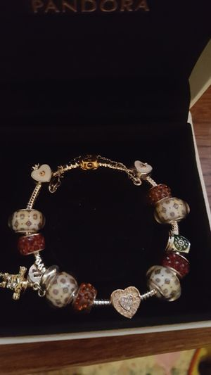 Pandora bracelet with charms and one authentic Pandora charm for Sale in Midland, NC