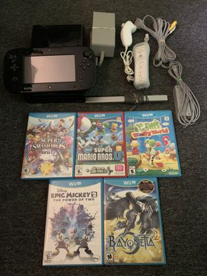 Nintendo Wii U Bundle With 5 Games and Cords for Sale in Lakewood, OH