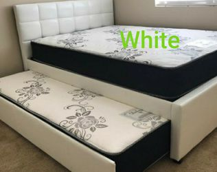 New Trundle Full_twin Upholstered Bed With New Mattresses Included for Sale in Fresno,  CA