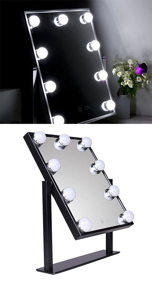 """New in box $50 Small Vanity Mirror w/ 9 Dimmable LED Light Bulbs Beauty Makeup 10x12"""" (Black or White)"""