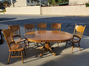 Oak table, six chairs with expansion leaf. for Sale in La Verne, CA