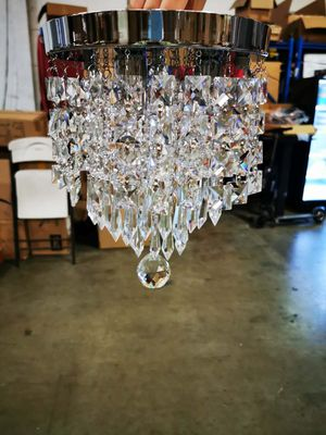 Bling Glass Crystal Chandelier, 3 Lights Modern Round Semi-Flushmount Crystal Ball Lighting Fixture, Chrome Finished, 11 inches High X 8.6 inches Wide for Sale in San Gabriel, CA