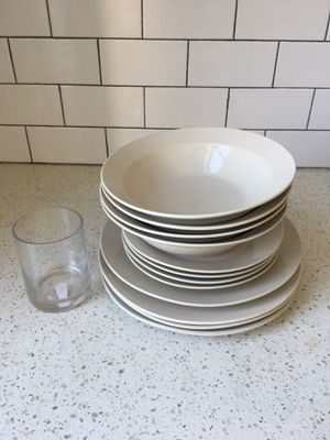 IKEA plates and bowls, and a free table vase for Sale for sale  Brooklyn, NY