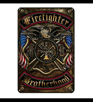 Firefighter wall tin sign for Sale in Guadalupe, CA
