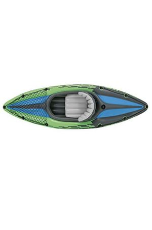 Inflatable kayak with oars and pump and large blue life jacket for Sale in Sterling Heights, MI