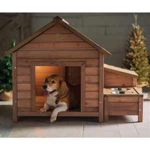 Solid Wood A-Frame Outdoor Dog House with Food Bowl and Storage for Sale in Fresno, CA