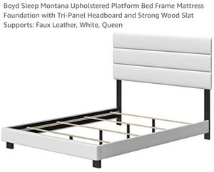 Boyd Sleep Upholstered Platform Bed Frame W/ Headboard White Queen for Sale in OH, US