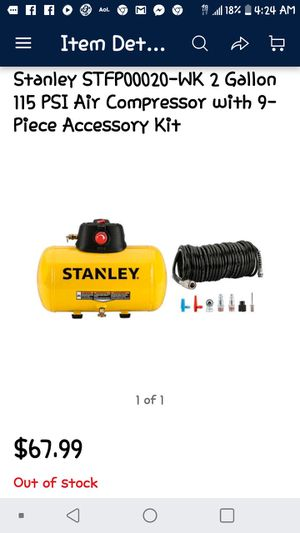 stanley 2 gallon compressor with 9 pc air accessary kit for Sale in Las Vegas, NV