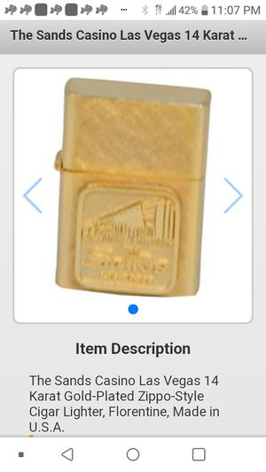 The Sands. Zippo style lighter 14 kt heavy gold plated for Sale in Las Vegas, NV
