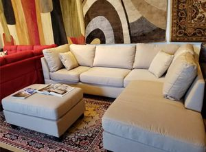Brand New Tan Linen Sectional Sofa Couch + Ottoman for Sale in Wheaton, MD