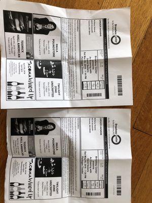 David Sedaris - 2 main floor tix - TONIGHT for Sale in Tacoma, WA