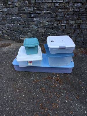 Lot of Four storage tote container for Sale in Concord, MA